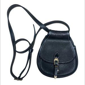 Roots Genuine Black Leather Cross Wallet Purse Bag